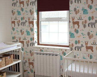 Nursery Wallpaper, Woodland Animal Wallpaper, Removable Wallpaper, Self Adhesive Wallpaper, Wall Decor