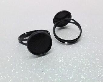 12mm Black Enamel Adjustable Ring Blanks - 4 Pcs