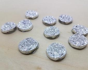 12mm Silver Titanium Cut Sparkly Faux Druzy Cabochon - 10 Pcs