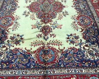 "9'9"" x 13'2"" Persian Tabriz Oriental Rug - 1980s - Hand Made - 100% Wool"