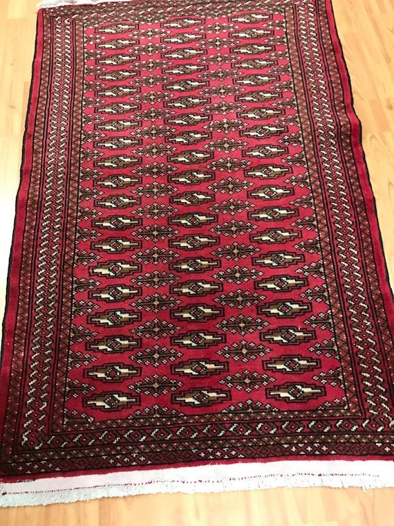 "2'7"" x 3'10"" Persian Turkeman Oriental Rug - 1950s - Hand Made - 100% Wool"