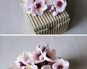 Wife gift Birthday gift jewelry set Bridesmaid hair accessory Bridesmaid gift Blossom hair pin Flower jewelry set Blossom ring Flower pins
