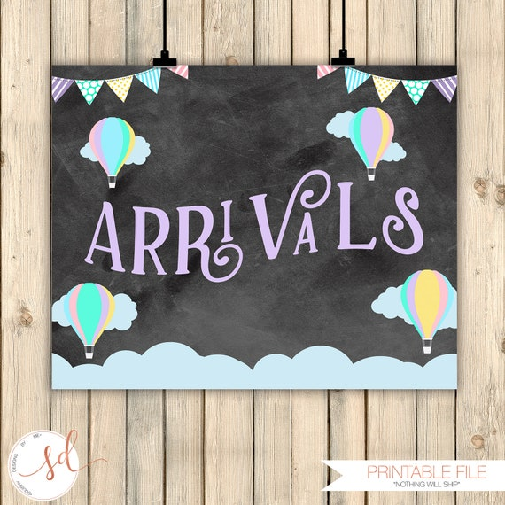 Hot Air Balloon Party Signs Arrivals Check In Sign