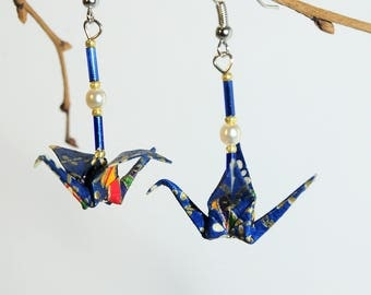 """Crane blue starry night"" origami earrings"