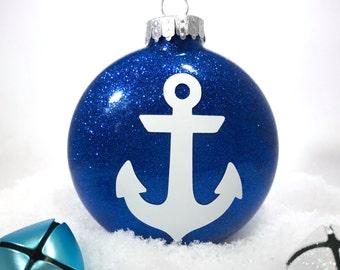 Anchor Ornament - Anchor Decor - Nautical Ornaments - Christmas Ornaments - Glitter Ornaments - Christmas Gift - Wedding Gift