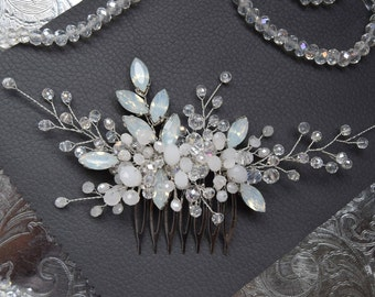 Aqua blue opal bridal hair comb wedding headpiece bridal hairpiece