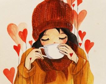 Coffee time original watercolour painting print