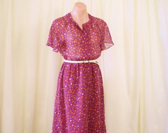 Red Floral Day Dress, Japanese Vintage 70s 80s Midi dress, Small 3650
