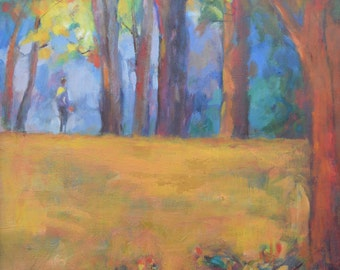 Landscape Painting, Figure in Landscape, Oil Painting