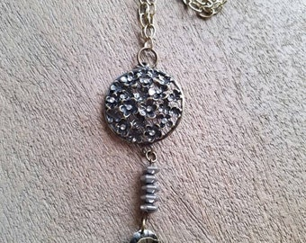 Smoky Grey & Antique Gold Fower Necklace (#82)