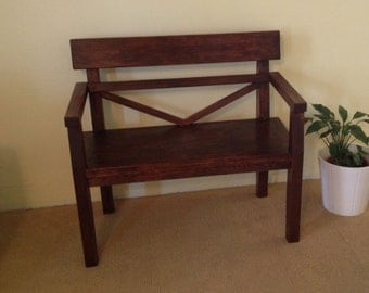 Farmhouse style bench   Rustic bench with armrest   Solid Wood bench with armrest  Handmade Bench