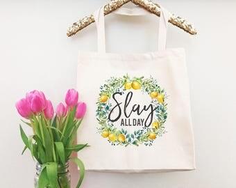Slay Tote Bag - Shopper Bag - Everyday Bag - Lemonade Tote Bag - Canvas Tote Handbag - Beige Canvas Tote Bag - Tote Handbag for Women