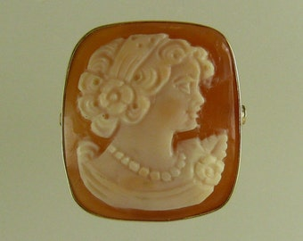 Cameo 18.6 mm x 21 mm Lady Face Ring,14k Yellow Gold
