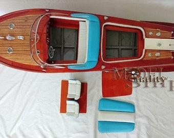 "RC ready Riva Aquarama Model Speedboat 36"" Gorgeous hand-made wooden boat"