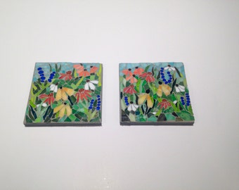 A Day in the Garden: MADE TO ORDER Stained Glass Mosaic Wall Art Set