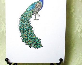 Peacock Card : Add a Greeting or Leave Blank
