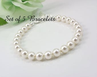 5 Pearl Bridesmaid Bracelets, Set of 5 Bridesmaid Bracelets, Pearl Strand Bracelets, Full Pearl Bracelet, Bridesmaid Gift, wedding bracelet