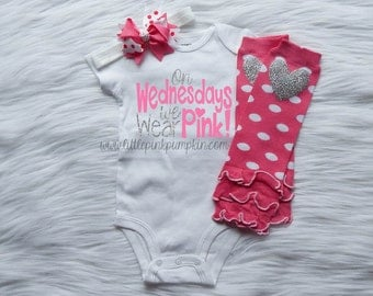Baby Girl Clothes, On Wednesday's we wear pink, Coming Home Outfit, Take Home Outfit, Baby Shower Gift, Pink and Silver, Leg Warmers Set