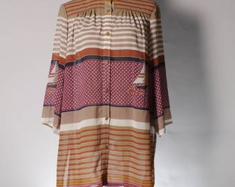 Vintage purple brown white stripe sailboat print blouse