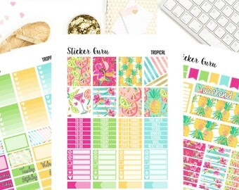 Tropical Summer // Printable Planner Stickers // Weekly Planner Sticker Kit // for Erin Condren MAMBI Happy Planner // PDF Files