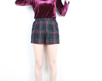 French Vintage 90's Burgundy Velvet Long Sleeve Top / Round Low Cut Neckline Red Purple Velour Blouse / 1990s Grunge Baroque Glam / Sz S M L