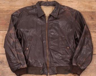 "Mens Vintage Levis Black Tab Lined Leather Jacket Brown L 46"" R5105"