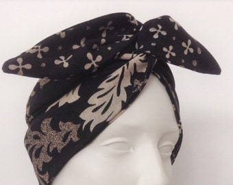 Wired Headband: Black and Ivory Print