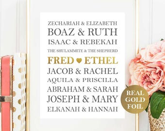Famous Bible Couples Print - Custom Wedding Print - Custom Anniversary Gift - JW Gift