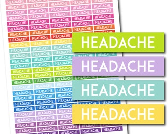 Headache stickers, Headache planner stickers, Headache printable stickers, Headache weekly stickers, Headache monthly stickers, STI-724