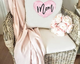 Mom Pink Heart Pillow Cover