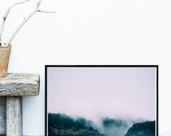 Black And White Print, Sea Photo, Mountain Print, landscape Art Print, Scandinavian Print,  Giclee print,  Poster