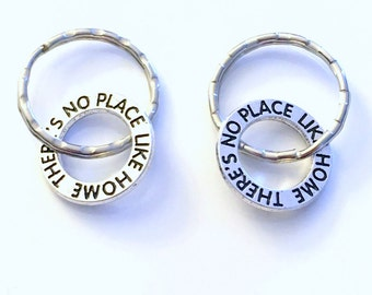 Gift for New Home Owner Keychain, His and Her Key chain, Adoption Silver Circle There's no place like home keyring First Wizard of Oz gotcha