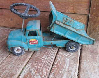 Vintage Metal Toy Truck, Buddy L Sit-N-Ride, 1960s Toy Dump Truck