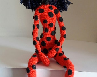 Amigurumi doll,amigurumi ladybug,toy crochet doll , personalized lady bug,acrylic thread,measures 33 cm,embroidered eyes,synthetic filling,
