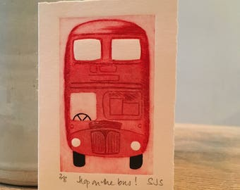 Hand Printed Bus Card, Handmade Bus Card, Bus, Single Printed Bus Card, Individual Card, Bus Card, London Bus, original limited edition