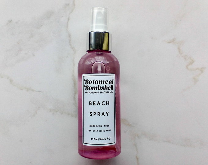 Morrocan Rose Beach Spray Hair Mist / Sea Spray / Dead Sea Salt & Pink Himalayan Salt Texturizing Spray / Vegan 3.3 oz / 100 mL