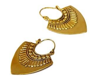 Gypsy Earrings,  Aztec Brass Earrings, Tribal Earrings, Boho Earrings, Ethic Earrings, Bohemian Earrings, Long Earrings,Tribal Jewelry