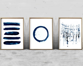 Navy Blue Wall Art abstract watercolor set minimalist art navy blue wall art