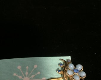 Blue Flower with Gold Tongs Hair Barrettes
