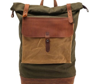 Waxed Canvas Backpack , Rolltop with brown leather, Laptop Backpack Backpack