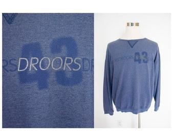 Vintage 90's DROORS heather gray grey blue crewneck pullover jumper sweatshirt