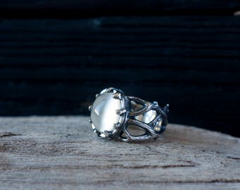 Moonstone twig ring - Silver branch ring - Forest ring - Gothic ring - Bridal ring - OOAK ring - Promise ring - Statement ring - 6 1/2