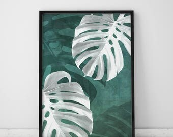 Botanical Print Leaf Print Tropical Leaf Print Leaf Wall Art Tropical Plants Botanical Poster Wall Decor Posters Monstera Leaf Print