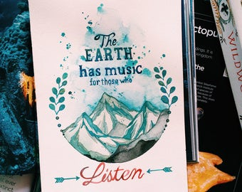 original watercolor illustration • the earth has music for those who listen