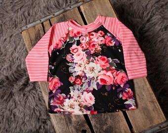 Black floarl with coral stripes raglan/girl's raglan/long sleeve shirt