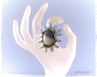 Amethyst ring / Tiffanytechnik / copper / Tin / handmade original