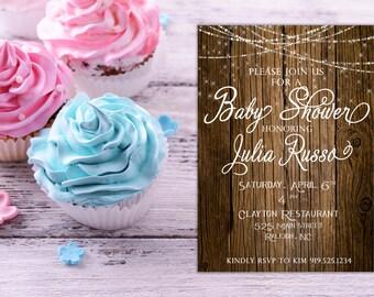 Rustic Baby Shower Invitation, Rustic baby shower, Online baby shower invitations, Printable baby shower invitations