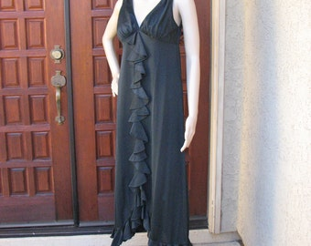 Vintage Long Black Nightgown, Ruffle Front Nightgown, Pin Up Lingerie