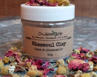 Rhassoul Clay with Rose and Chamomile Rhassoul Clay, Rose Clay Mask, Chamomile Clay Mask, Gift for Her, Bridesmaid Gift, Spa Gift