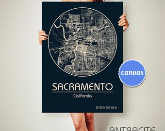 SACRAMENTO California CANVAS Map Sacramento California Poster City Map Sacramento California Art Print Sacramento California